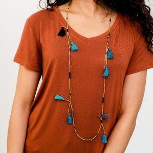 Beaded Tassel Necklace 14k Gold Blue